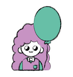Beauty girl with uniform clothes and heart balloon vector