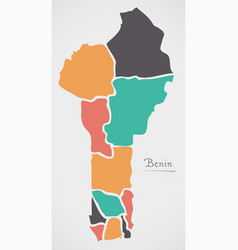 Benin map with states and modern round shapes vector