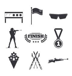 Biathlon icons set Flat style design Target ski vector