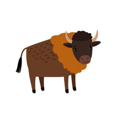 bison wild animal cartoon icon vector image