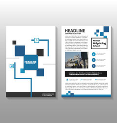 Blue black square annual report set vector image