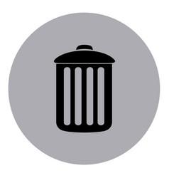 blue contour metal trash can icon vector image