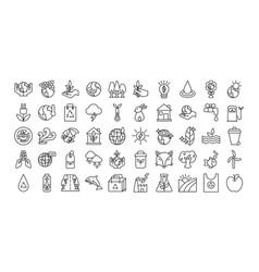 Bundle planet ecology set icons vector