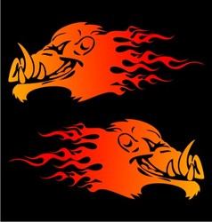 Burning Boar Head vector image