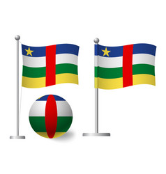 central african republic flag on pole and ball vector image