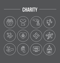 Charity icon collection vector