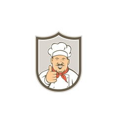Chef Cook Happy Thumbs Up Shield Retro vector