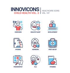 Child health - line design style icons set vector