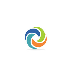 circle curve colored round logo vector image