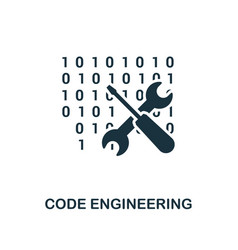 code engineering icon monochrome style design vector image