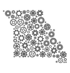 Collage map of missouri state with gear wheels vector