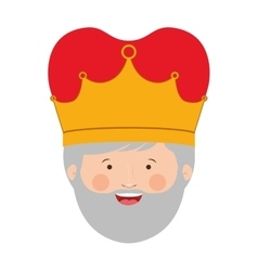 Colorful king head with crown and gray beard vector