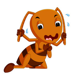 Cute brown ant crying vector