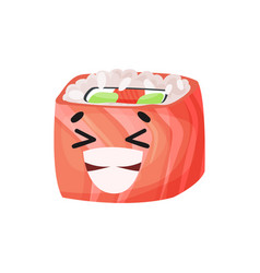 cute laughing sushi character with salmon roll vector image