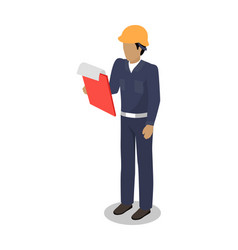 Dock worker man with clip board makes inspection vector