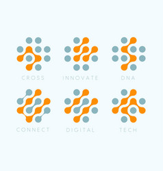 Dots cross emblem set innovate bio tech vector