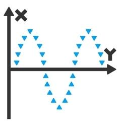 Dotted Sinusoid Plot Flat Symbol vector image