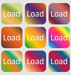 Download now icon Load symbol Nine buttons with vector