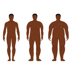 fat african men cartoon outline style human front vector image
