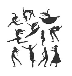 Female silhouettes in dance silhouette of dancers vector