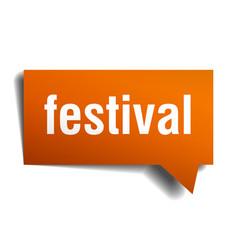festival orange 3d speech bubble vector image
