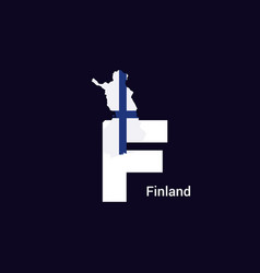 Finland initial letter country with map and flag vector