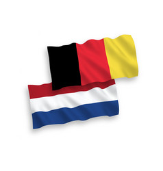 Flags belgium and netherlands on a white vector