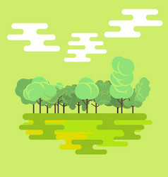 flat forest green nature landscape background vector image