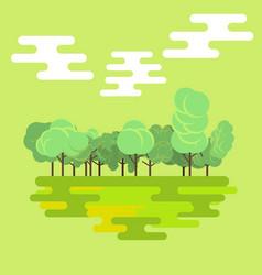 flat forest green nature landscape background vector image