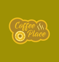 Flat icon on background coffee drink place logo vector
