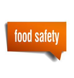 Food safety orange 3d speech bubble vector