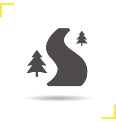 Forest road icon vector