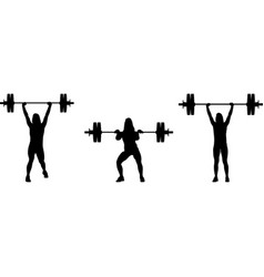 girl in three different poses weight lifting vector image
