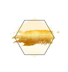 Gold glitter foil brush stroke golden vector