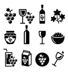 Grapes wine - food and beverages icons set vector image vector image