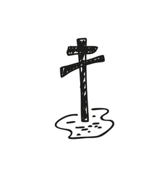 Grave with a cross Doodle style vector