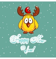 Greeting Card Chick With Antlers vector image