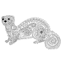 Hand drawn ferret with high details vector image