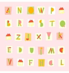 Hand drawn trendy alphabet on pink background vector