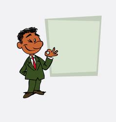 Happy black businessman makes the gesture of ok vector
