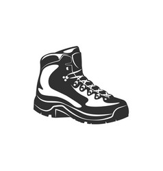 Hiking boot shoe black and white vector