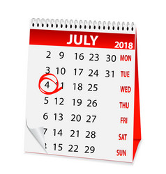 icon calendar for july 4 2018 vector image