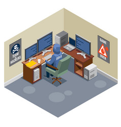 Internet threats isometric composition vector