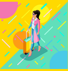 isometrics a girl in a bright raincoat with a vector image