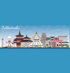 Kathmandu skyline with gray buildings and blue sky vector