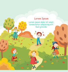 kids children having fun in fall autumn park vector image