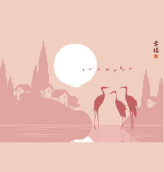 landscape with three herons in the lake at sunset vector image