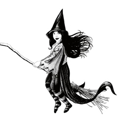 Little girl witch vector image