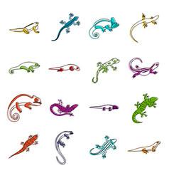 Lizard icons doodle set vector