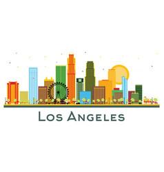 Los angeles california city skyline with color vector
